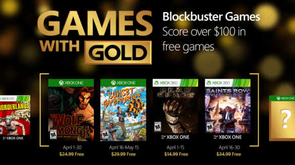 Games With Gold for April 2016