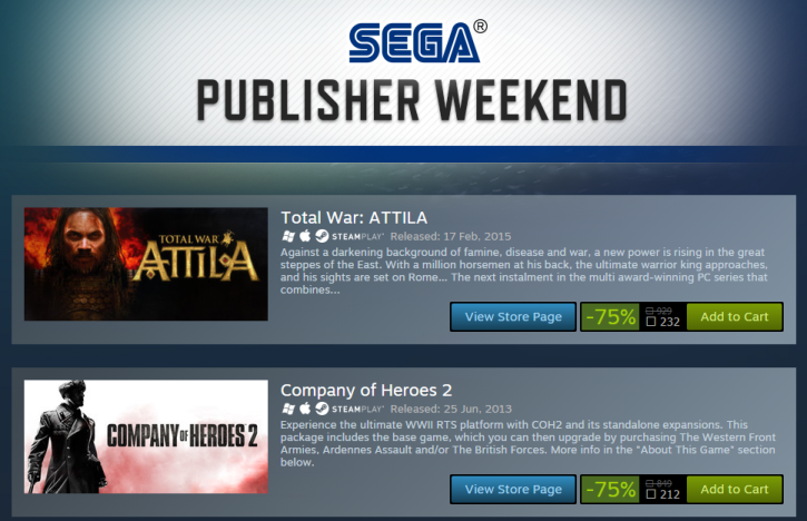 Steam Sega Sales