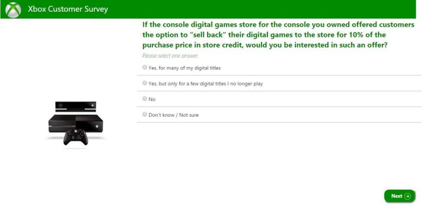 Xbox Survey to Resale Digital Games