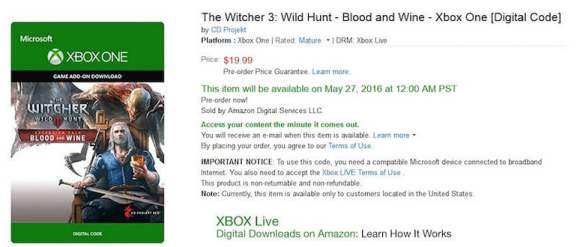 The Witcher 3 Blood and Wine Release Date Amazon