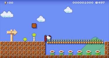 Hello Kitty Costume in Super Mario Maker
