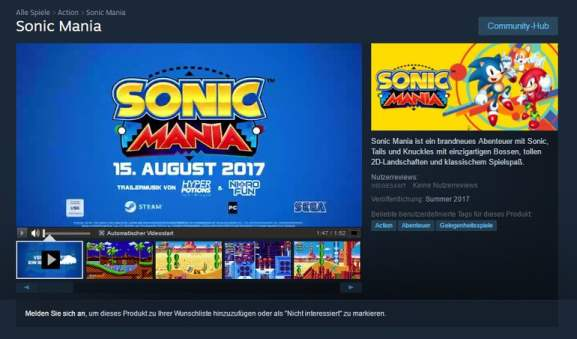 Sonic Mania release date leaked by Steam
