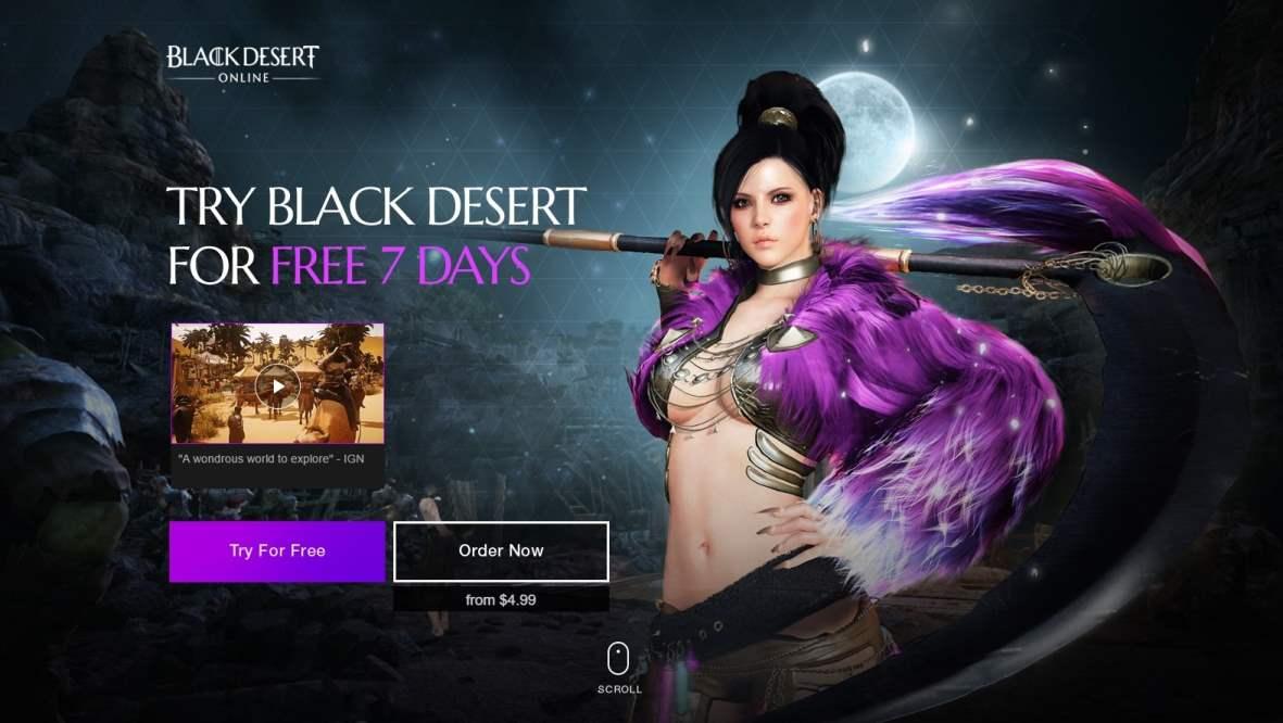 black desert online 7 days free