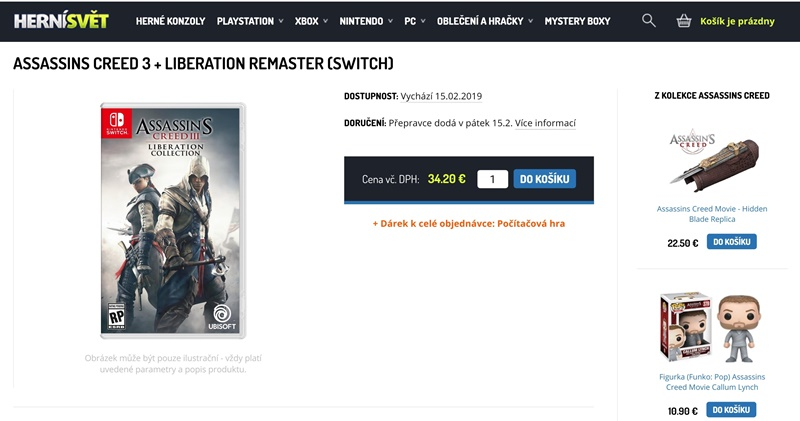 Assassin's Creed 3 and Liberation Collection Switch
