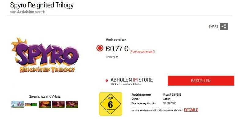 Spyro Reignited Trilogy Switch Version